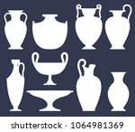 white silhouettes of ancient... | Shutterstock .eps vector #1064981369