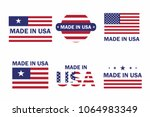 set of made in the usa label...   Shutterstock .eps vector #1064983349