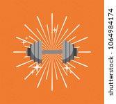 barbell gym sport sunburst... | Shutterstock .eps vector #1064984174