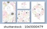 vector wedding invitation set... | Shutterstock .eps vector #1065000479
