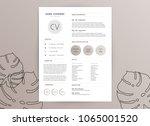 elegant feminine cv resume... | Shutterstock .eps vector #1065001520