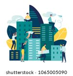 vector flat illustration ... | Shutterstock .eps vector #1065005090