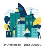 flat illustration  future city. ... | Shutterstock .eps vector #1065005090