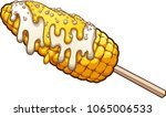 corn on the cob with mayonnaise ... | Shutterstock .eps vector #1065006533