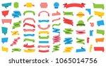 flat vector ribbons banners...   Shutterstock .eps vector #1065014756