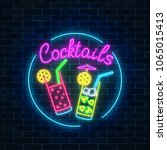 neon cocktails bar sign in... | Shutterstock .eps vector #1065015413