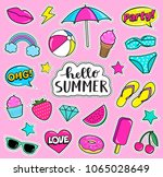 set of cute summer fashion... | Shutterstock .eps vector #1065028649