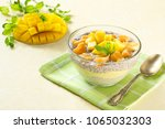 chia pudding with coconut milk  ... | Shutterstock . vector #1065032303