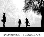 family silhouettes in nature. | Shutterstock .eps vector #1065036776