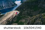 resting above the fjord   view...   Shutterstock . vector #1065041540