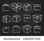 boxes on chalk board. closed... | Shutterstock .eps vector #1065047330