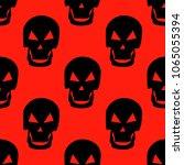 seamless pattern black skulls... | Shutterstock .eps vector #1065055394
