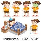 set of a girl get sick. she has ... | Shutterstock .eps vector #1065072689