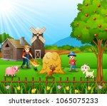 farming activities on farms...   Shutterstock .eps vector #1065075233
