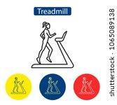 treadmill fitness outline icons.... | Shutterstock .eps vector #1065089138