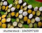 sweet banana and pumpkin  thai... | Shutterstock . vector #1065097100