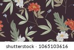 botanical seamless pattern  red ... | Shutterstock .eps vector #1065103616