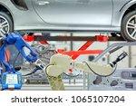 industrial robotic installed 3d ... | Shutterstock . vector #1065107204