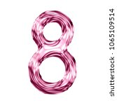 shiny pink glass number eight 8 ... | Shutterstock . vector #1065109514