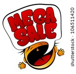 Mega Sale screaming girl sign. - stock vector