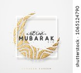 eid mubarak greeting card with... | Shutterstock .eps vector #1065124790