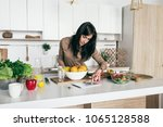 simple healthy food concept.... | Shutterstock . vector #1065128588