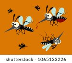 mosquito set isolated on orange ... | Shutterstock .eps vector #1065133226