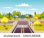 street crossroad vector... | Shutterstock .eps vector #1065138308