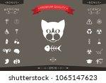 cat with fish skeleton | Shutterstock .eps vector #1065147623