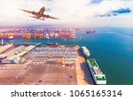 airspace of container ship and... | Shutterstock . vector #1065165314