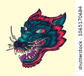 vintage wolf head old school... | Shutterstock .eps vector #1065170684