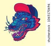 hipster wolf head old school... | Shutterstock .eps vector #1065170696