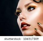 Beautiful Face Makeup Close Up...