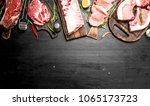 different types of raw pork... | Shutterstock . vector #1065173723