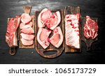 different types of raw pork... | Shutterstock . vector #1065173729