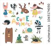 cute wild animals hand drawn... | Shutterstock .eps vector #1065174050