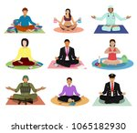meditation vector meditating... | Shutterstock .eps vector #1065182930