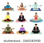 meditation vector meditating... | Shutterstock .eps vector #1065182930