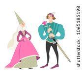 princess and prince with a... | Shutterstock .eps vector #1065185198