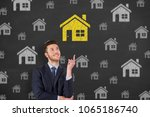 human hand drawing home choose... | Shutterstock . vector #1065186740