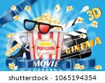 cinema ad poster  movie theater ...   Shutterstock .eps vector #1065194354