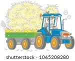 smiling farmer driving his... | Shutterstock .eps vector #1065208280