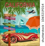 california retro poster with... | Shutterstock .eps vector #1065219314