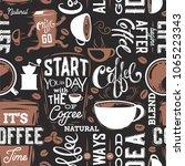 coffee seamless pattern.text...   Shutterstock .eps vector #1065223343