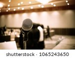 microphones on abstract blurred ... | Shutterstock . vector #1065243650