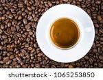 espresso coffee cup top view. | Shutterstock . vector #1065253850