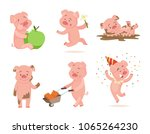 funny pink pigs playing games.... | Shutterstock .eps vector #1065264230