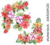 flowers corner with watercolor... | Shutterstock . vector #1065269120