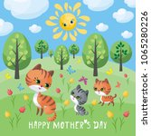 cat family. mother s day... | Shutterstock .eps vector #1065280226