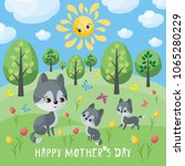 wolf family. mother s day... | Shutterstock .eps vector #1065280229